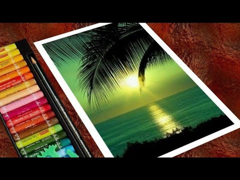 Green Sunset Scenery Drawing with Oil Pastels for Beginners - step by step