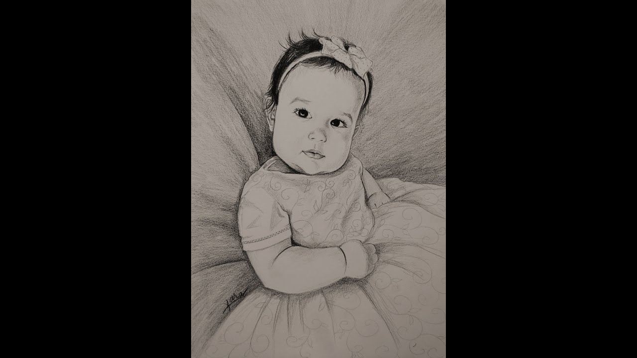 32 beautiful baby girl pencil portrait by kara