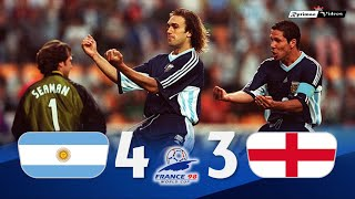 Argentina 2 (4) x (3) 2 England ● 1998 World Cup Extended Goals \u0026 Highlights + Penalties HD
