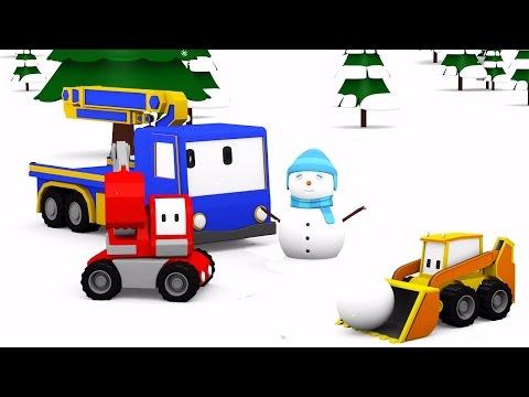 Snowman and giant sledge slide  - Learn with Tiny Trucks: bulldozer, crane, excavator , Educa