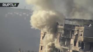 تصوير جوي يظهر كيف أحرقت قوات الأسد بلدة الهامة بريف دمشق