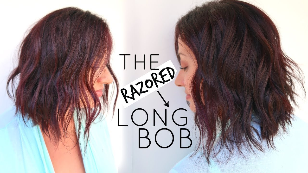 Long Bob Hair Cut Tutorial Using A Razor Youtube