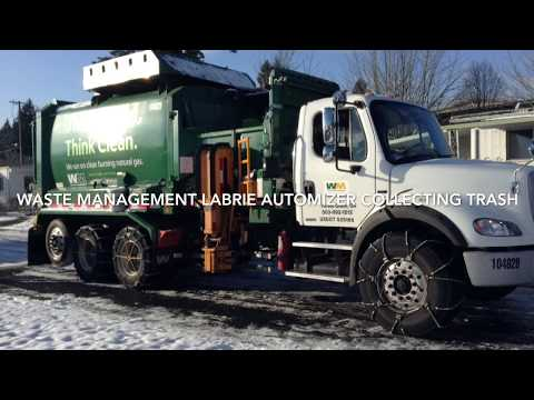 Waste Management Labrie Automizer Collecting Trash