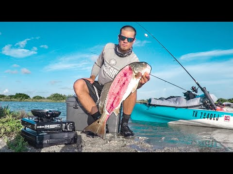 Redfish Catch And Cook On MICRO SPOIL ISLAND