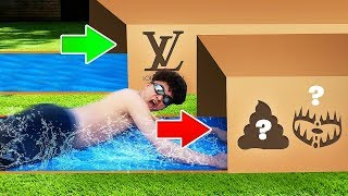 TRY NOT TO Slip 'N Slide Through the Wrong MYSTERY BOX (HILARIOUS KID)