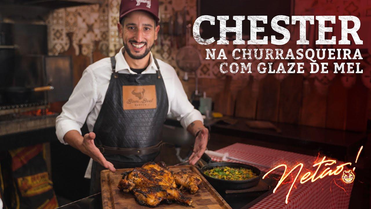 Chester na Churrasqueira com Glaze de Mel e Farofa Natalina   Netão! Bom Beef #62