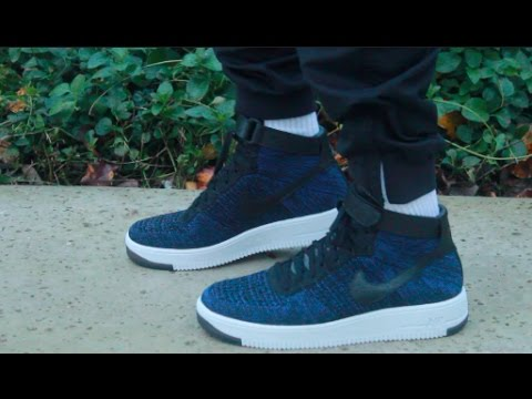 8388b94732c83 Nike Air Force Flyknit Ultra High ON FEET! ROYAL BLUE - YouTube