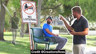 Putting No Loitering Signs Next to Park Benches Prank