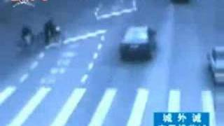 Bicycle Gets Hit By Car  China