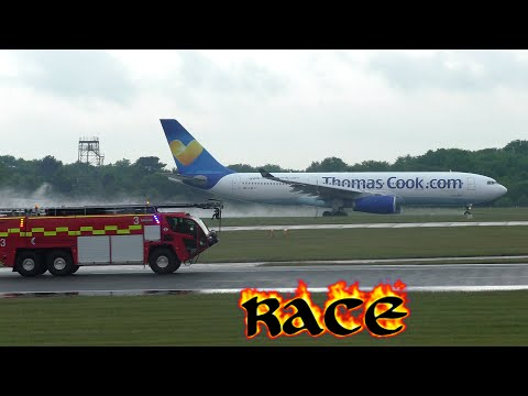 Aircraft race with Fire Engine Thomas Cook A330