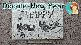 วาด Doodle Happy New Year