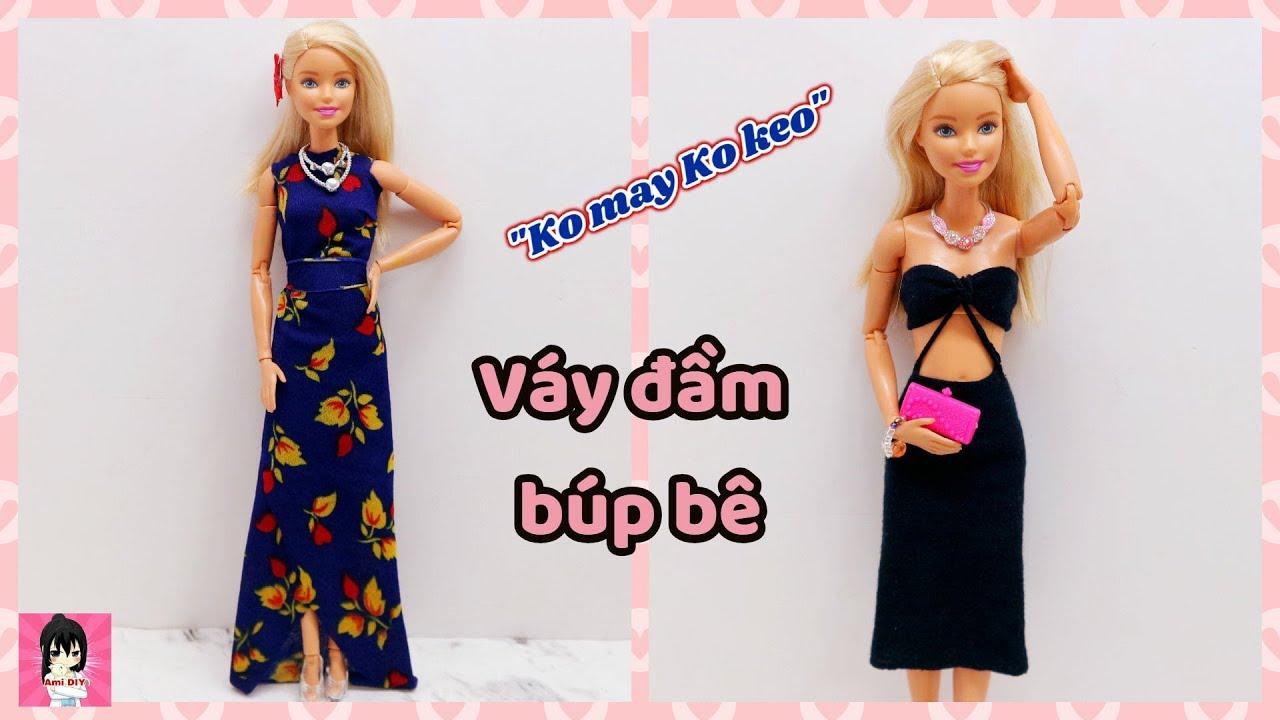"""Làm 2 kiểu váy đầm dự tiệc cho búp bê """"KO MAY KO KEO"""" / No-sew No-Glue Doll Clothes Ami DIY"""
