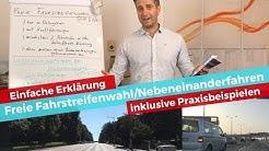 Freie Fahrstreifenwahl und Nebeneinanderfahren bei Kolonnenverkehr - einfache Erklärung