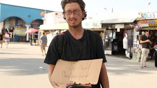 Homeless Man Gives Away Money | Social Experiment