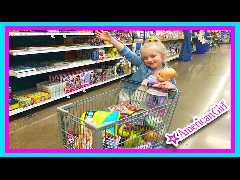 American Girl Bitty Ba Doll Grocery Shopping Trip w Kid Size Shopping Cart
