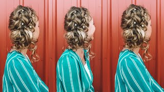 Double Dutch Braids + Curly Bun
