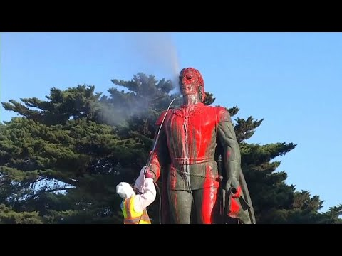 شاهد : هذا ما فعله أميركيون بتمثال كريستوف كولومبوس في عيده السنوي …  - نشر قبل 4 ساعة