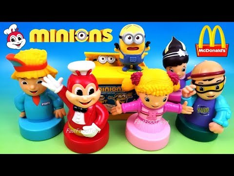 MINIONS COIN BANK VS 2017 JOLLIBEE JOLLY COIN BANKS McDONALD'S DESPICABLE ME 3 HAPPY MEAL KIDS TOYS