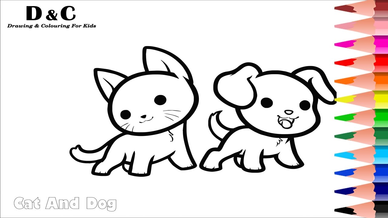 How to Colouring Pages Cat & Dog Coloring Animals Learning ...