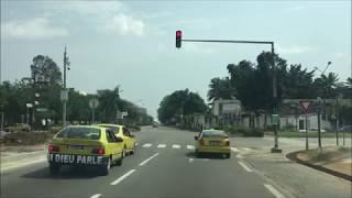 Driving around Abidjan Cote D'ivoire:  Treichville, Plateau ,Cocody - アビジャン 2019