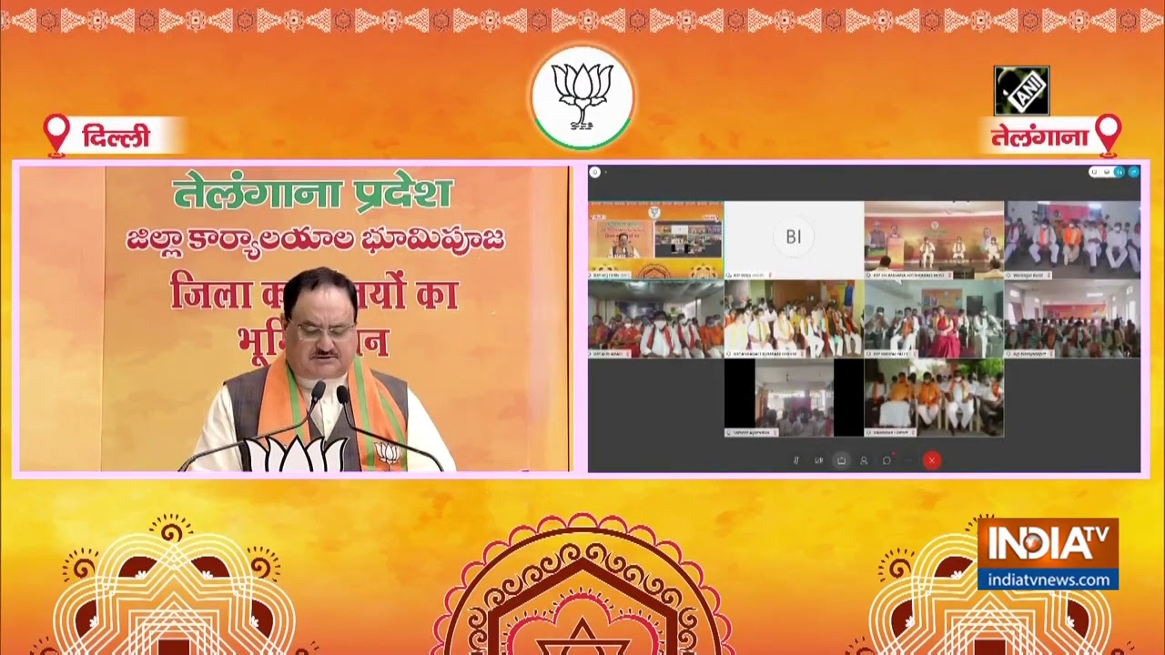JP Nadda attends bhoomi pujan of 9 BJP district offices in Telangana