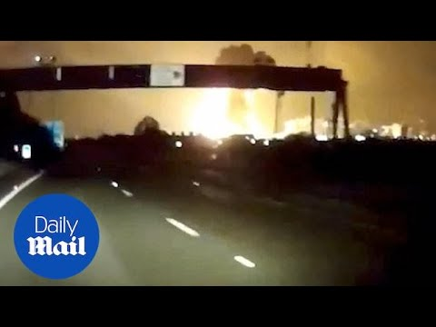 Dash cam footage captures moment of explosion at Tata Steel factory