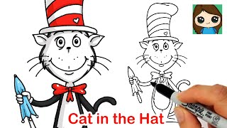 How to Draw The Cat in the Hat Easy | Dr. Seuss
