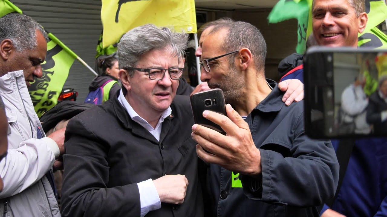 Mélenchon vient soutenir les cheminot en grève (12 juin 2018, Gare de Lyon)