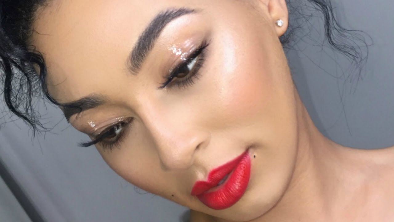 Glossy Lids Matte Red Lip Makeup Tutorial Lletitia