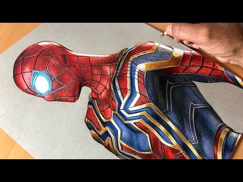 Drawing Iron Spider-Man - Iron Suit - Marvel - Time-lapse | Artology