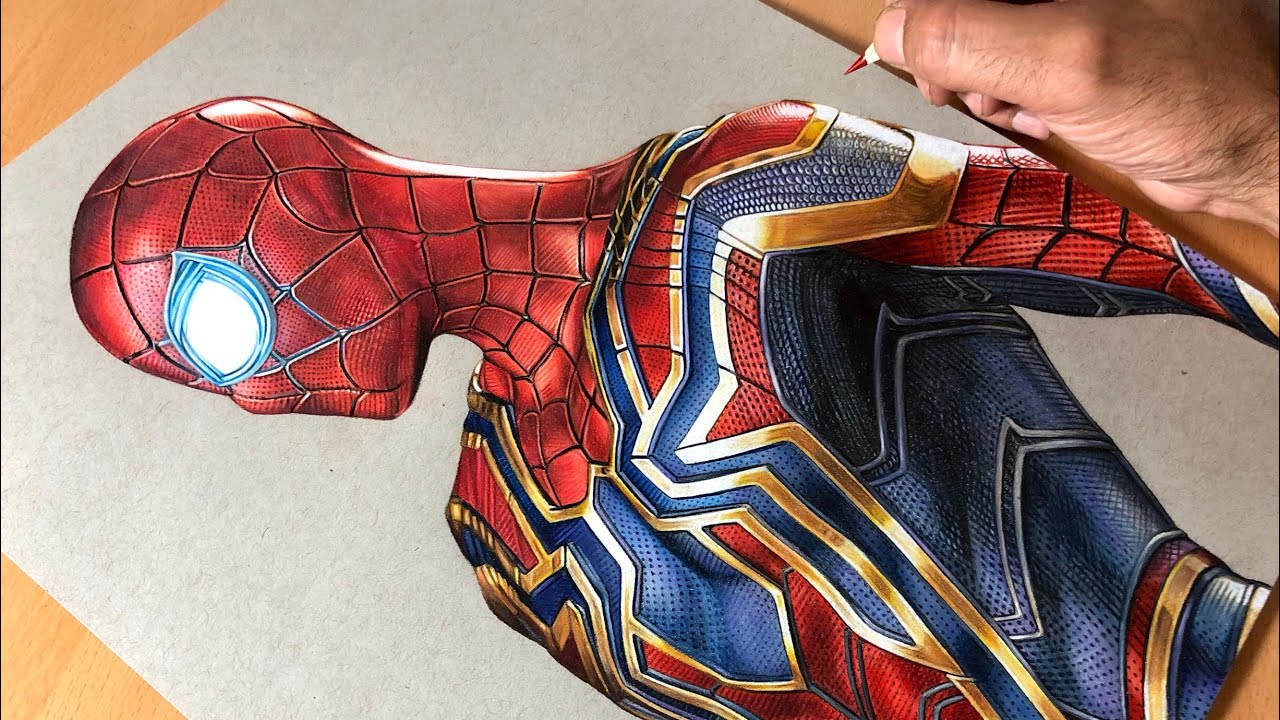 Drawing iron spider man iron suit marvel time lapse artology