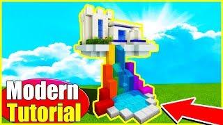 "Minecraft Tutorial: How To Make A Modern Sky House ""Hidden House In the Sky"""