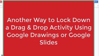 Drag & Drop Activities Using Google Slides or Drawings- Locking Down the Background