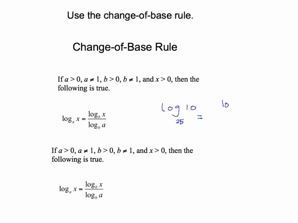 Use the change of base rule for Logarithm - YouTube