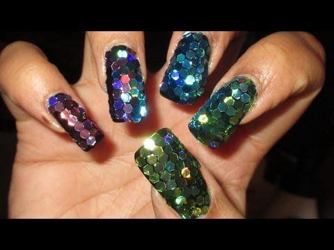 Super Blingy Ombre Glitter Mosaic New Year's Nail Art Tutorial thumbnail