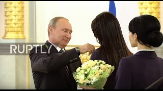 Russia: Putin honours Russian gold medalist Olympians at the Kremlin