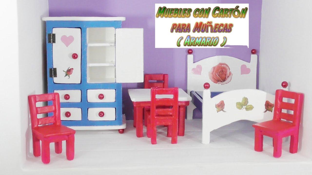 muebles de cartn para casas de muecas tutorial armario ropero hecho con cartn diy youtube