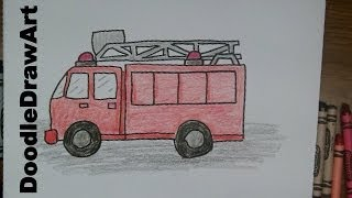 How To Draw a Firetruck! Draw this Cartoon Firetruck