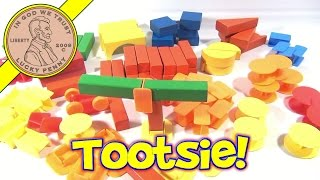 Tootsietoy Wood Block Building Set With Plastic Block Connectors