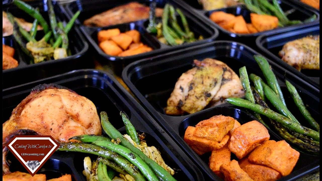Meal Prep Ideas Roasted Chicken Roasted Sweet Potatoes Green