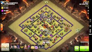 Clash of Clans 3 star war attack TH9 vs TH10 GoWiWi