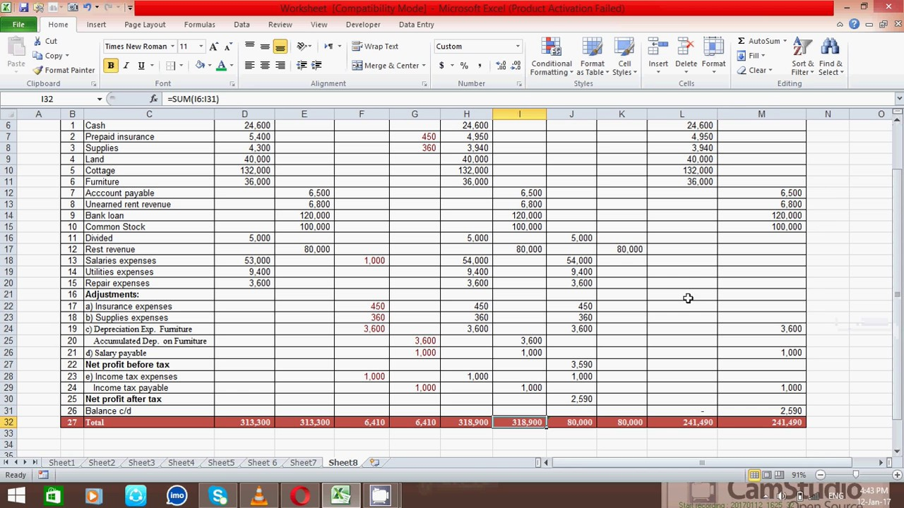 How to Prepare Ten Column Worksheet in Excel Spread Sheet (Samir)