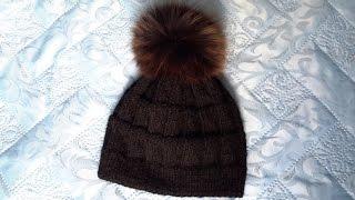 Женская вязаная шапка спицами!Для начинающих.Уроки на ютубе.