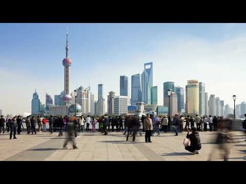 HD footage - Shanghai skyline with pedestrian time lapse