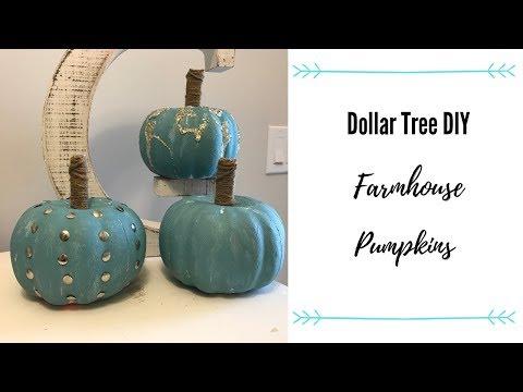 DOLLAR TREE FARMHOUSE PUMPKINS | DIY | 2019
