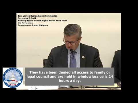 Chairman Rep. Randy Hultgren - Egypt Hearing by the US Congress Tom Lantos Commission
