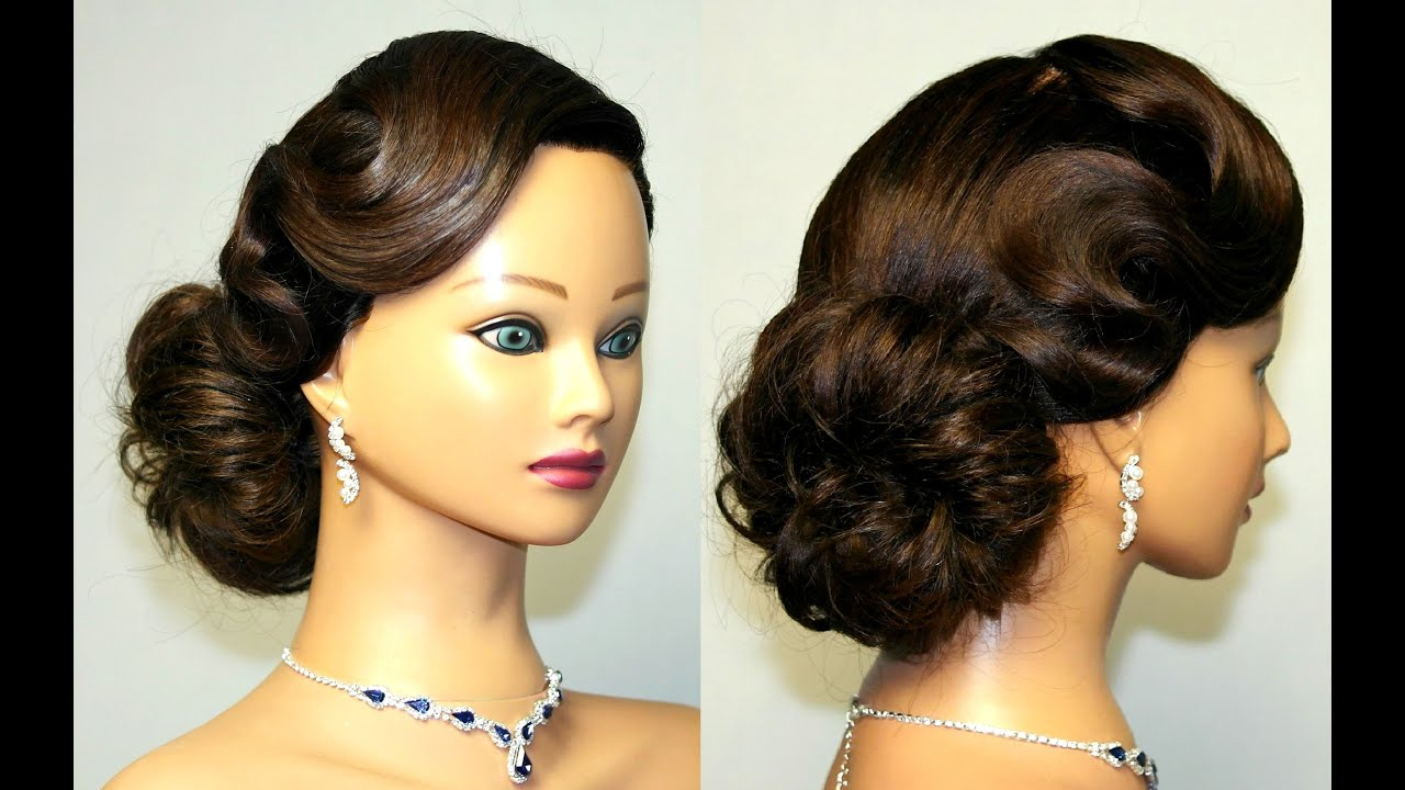 Vintage updo hairstyle for medium long hair