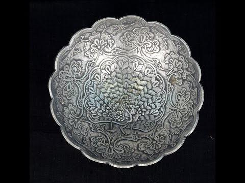 Antique Silver Peacock Crafted Design Silver Bowl.
