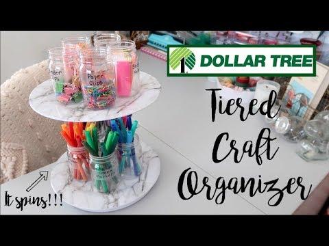 TIERED CRAFT ORGANIZER   ROTATING   DOLLAR TREE DIY 2019!!!