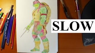 how to draw ninja turtles raphael from movie 2014 slow step by step